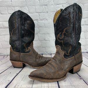 Justin Vintage Crackle Leather Cowboy Boots